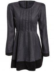 Elegant Jewel Neck Long Sleeve Color Block Worsted Dress For Women - DEEP GRAY