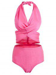 Stylish Halter Solid Color High-Waisted Women's Bikini Set -
