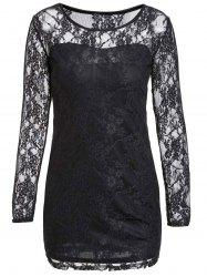 Sexy Scoop Neck Lace Spliced Slimming Long Sleeve Women's Dress - BLACK