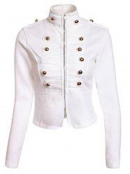 Fashionable Stand Collar Double-Breasted Zipper Long Sleeve Women's Jacket - WHITE