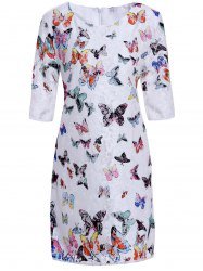 Refreshing Scoop Neck Butterfly Pattern 3/4 Sleeve Women's Lace Dress