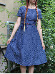 Vintage Short Sleeve Polka Dot Printed Belted Midi Dress For Women