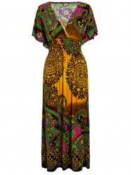 Bohemian Kimono Sleeves African Maxi Dress - ORANGE ONE SIZE