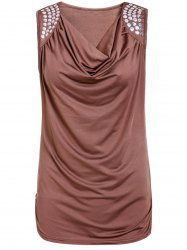 Stylish Draped Collar Studded Solid Color Top For Women - BROWN L