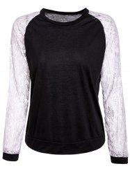 Sweet Round Neck Lace Splicing Long Sleeve Sweatshirt For Women -