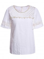 Sweet Scoop Neck Short Sleeve Bead Embellished Lace Hollow Design Solid Color Women's Blouse -