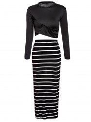 Turtle Neck Long Sleeve Crop Top + Bodycon Striped Maxi Skirt Twinset - BLACK
