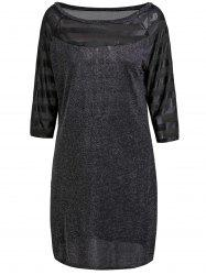 Minceur col rond 1/2 manches pailletée See-Through Dress Women 's  - Noir