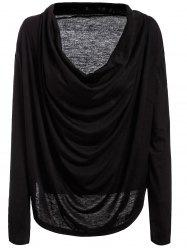 Plunging Neck Long Sleeve Plain T-Shirt -