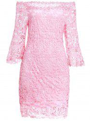 Sweet Slash Collar 3/4 Sleeve Solid Color Lace Women's Dress - PINK