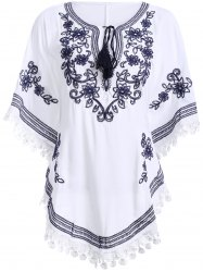 Bohemian Batwing Sleeves Embroidery Blouse For Women -