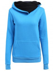 Casual Style Loose-Fitting Solid Color Long Sleeve Women's Hoodie - BLUE XL