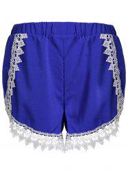 Sweet Elastic Waist Laced Loose Shorts For Women - BLUE