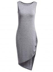 Stylish Round Collar Sleeveless Asymmetrical Pure Color Women's Dress -