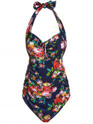 Fashionable Halter Floral Print Plus Size Women's Swimwear