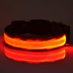 Eye-Catching Fluorescent LED Luminous Night Walk Metal Buckle Collar For Dogs
