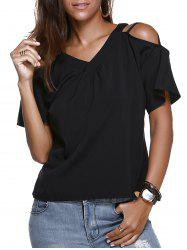 V Neck Loose-Fitting Cold Shoulder Blouse -