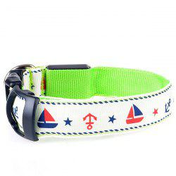 Stylish Star Sailing Boat Pattern LED Luminous Night Walk Collar For Dogs