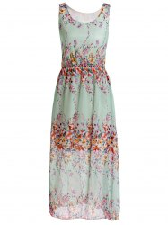 Stylish Scoop Neck Floral Print Chiffon Women's Sleeveless Dress