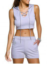 Casual Hooded Crop Top + Grey Shorts Womens -