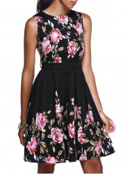 Floral High Waisted Swing Short Prom Dress -