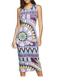 Sleeveless V-Neck Tribal Print Dress -