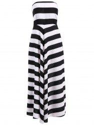 Color Block Striped Strapless Maxi Homecoming Dress
