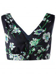 Stylish Women's V Neck Floral Crop Top - BLACK AND GREEN S