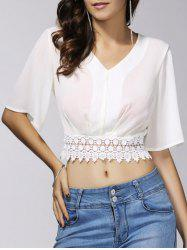 Stylish V-Neck 1/2 Sleeve Lace Embellished Crop Top For Women -