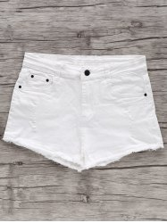 Chic High Waist White Frayed Fringe Denim Shorts For Women -