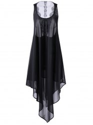 Asymmetrical Cut Out Swing Dress - BLACK L