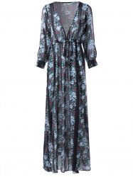 V-Neck Chiffon Printing Maxi Dress with Sleeves - COLORMIX