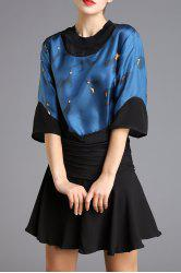 Printed Hit Color Blouse -