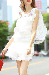 Flounce Ruffles Tank Top and High Waist Solid Color Skirt Suit -