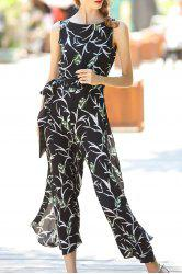 Belted Printed Double Side Jumpsuit -