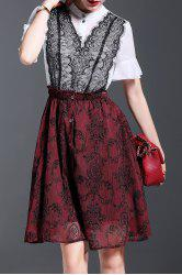 Faux Twinset Lace Splicing Dress -
