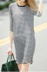 Loose Striped Dress and Cami Black Tank Top Suit -