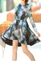 Printed Waisted Corset High-Low Dress -