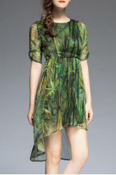Plant Print High Low Half Sleeve Dress -