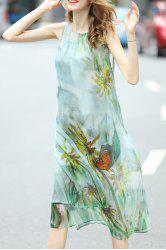 Vintage Printed Dress and Cami Tank Top Suit -