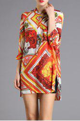 Printed High-Low Mini Dress -