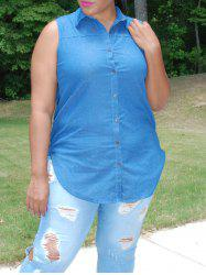 Plus Size Sleeveless High-Low Hem Denim Shirt