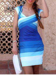 Sweetheart Neck Ombre Bandage Dress with Sleeves -