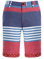 Color Block Stripes Plaid Motif Jambe droite Zipper Fly Shorts For Men - Multicolore