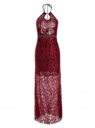 Sexy Style Spaghetti Strap Backless Hollow Out Lace Sleeveless Maxi Dress For Women -