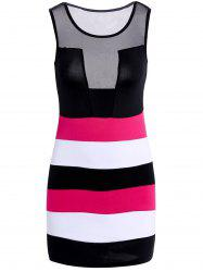 Sleeveless Color Block Bandage Club Dress