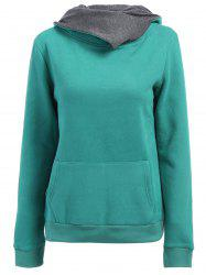 Casual Style Loose-Fitting Solid Color Long Sleeve Women's Hoodie - GREEN