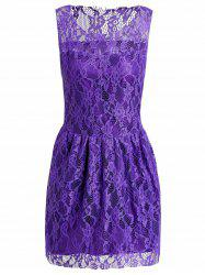 Sexy ronde sans manches col couleur unie See-Through Dress Women 's  - Pourpre