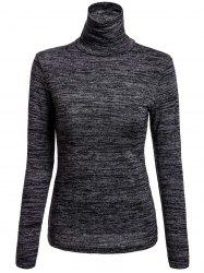 Casual Style Turtle Neck Color Mixed Long Sleeve T-Shirt For Women -