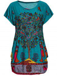 Embellished Printed Mini Dress - LAKE BLUE